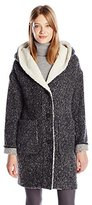 Lucky Brand Women's Cocoon Tweed Coat with Faux Shearling and Oversized Hood