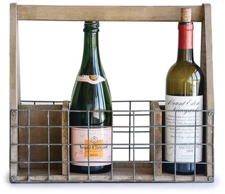 "Creative Co-op Creative Co Op 16"" L Mango Wood & Wire Wine Rack"