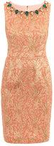 Metallic silk-brocade shift dress