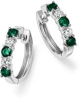 Bloomingdale's Emerald and Diamond Hoop Earrings in 14K White Gold - 100% Exclusive