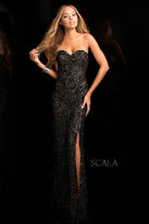 Scala 48674 Sweetheart Beaded Prom Dress with Front Slit