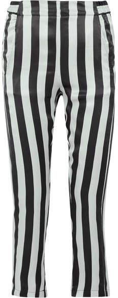 Ann Demeulemeester Cropped Striped Silk-satin Pants - Black