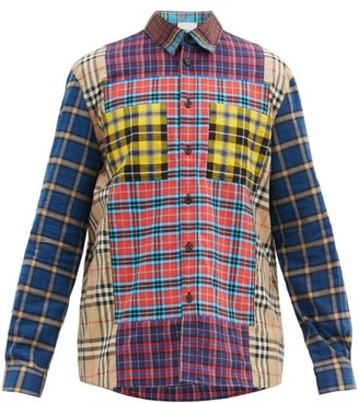 Burberry Tindall Patchworked Checked Cotton-flannel Shirt - Red Multi