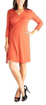 24seven Comfort Apparel Women's Collared V-Neck 3/4 Sleeve Wrap Dress