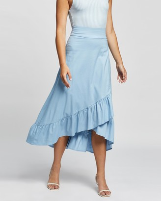 Atmos & Here Atmos&Here - Women's Blue Midi Skirts - Amada Linen Skirt - Size 6 at The Iconic