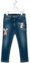 Dolce & Gabbana mouse patch jeans - kids - Cotton/Spandex/Elastane - 4 yrs