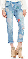 Jessica Simpson Mika Best Friend Distressed Floral Embroidered Slim Slouch Jeans