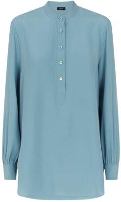 Joseph Luke Silk Half-Button Blouse