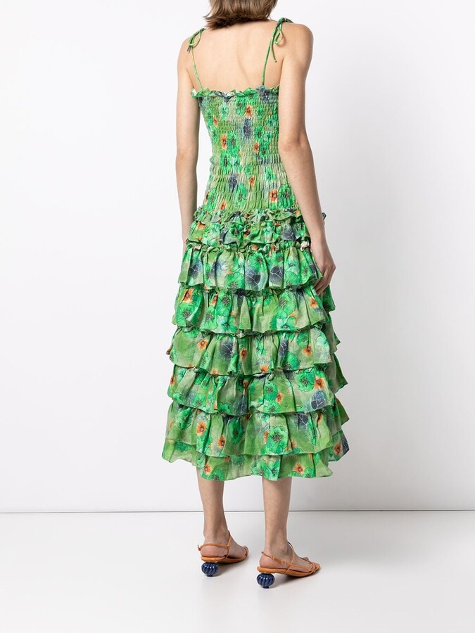 Thumbnail for your product : Bambah Floral-Print Ruffled Linen Dress