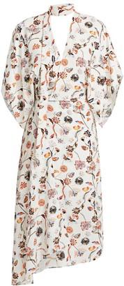 Roland Mouret Meyers Painterly Floral Asymmetric Mockneck Dress