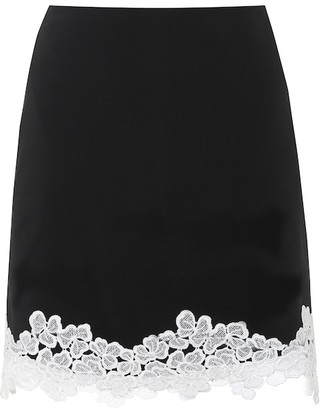 David Koma Lace-trimmed crepe miniskirt