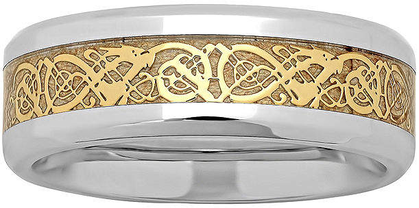 Celtic MODERN BRIDE Personalized Mens Dragon Two-Tone Stainless Steel Wedding Band