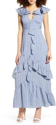 ENGLISH FACTORY Sleeveless Stripe Ruffle Maxi Dress