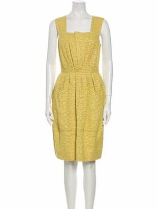 Chloé Lace Pattern Knee-Length Dress Yellow