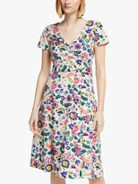 Boden Olive Tropical Belted Wrap Dress, Ivory/Multi