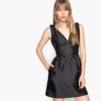 La Redoute Collections Low V-Neck Dress with Bow on Sleeve