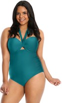 Lysa LYSA Plus-Size Halter Neck One-Piece Swimsuit -Heather