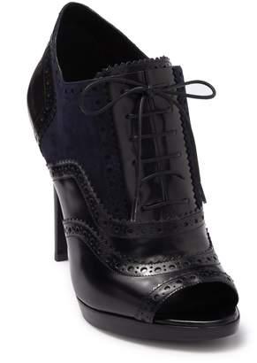 Burberry Brunswick Suede & Leather Peep Toe Ankle Bootie