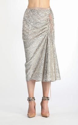 N21 Tie-Detailed Ruched Sequined Midi Skirt