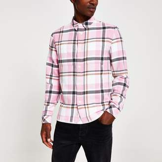 River Island Mens Pink check long sleeve regular fit overshirt