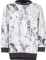 River Island Boy white marble sweatshirt