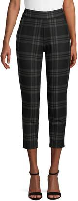 Hue Tapered Cropped Bold Plaid Trouser