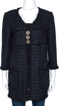 Chanel Midnight Blue Lurex Textured Knit Jacket M