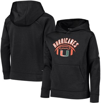 adidas Youth Black Miami Hurricanes Team Issue Speed Arch climawarm Pullover Hoodie