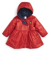 Little Marc Jacobs Infant Girl's 'Allover' Leopard Print Reversible Hooded Puffer Coat