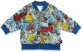 Little Marc Jacobs Cotton Jersey Raglan Leopard Jacket, Blue/Yellow, Size 3-12 Months