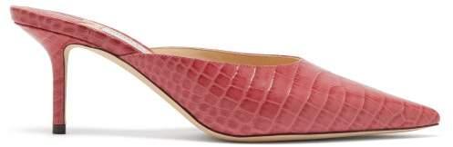 Jimmy Choo Rav 65 Crocodile Embossed Leather Mules - Womens - Pink