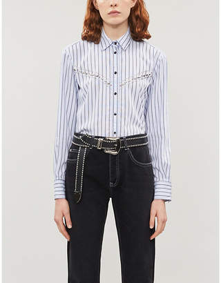 Sandro Jewel-button embellished satin shirt