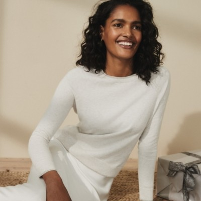 The White Company Sparkle-Tipped Jumper with Cotton, Cloud Marl, 4