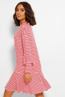 boohoo Stripe Ruffle Hem & Sleeve T-Shirt Dress