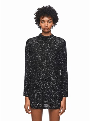 Pepe Jeans Sequined Mini Shift Dress with Open Back and Long Sleeves