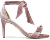 Alexandre Birman Clarita Bow-embellished Velvet Sandals - Lilac