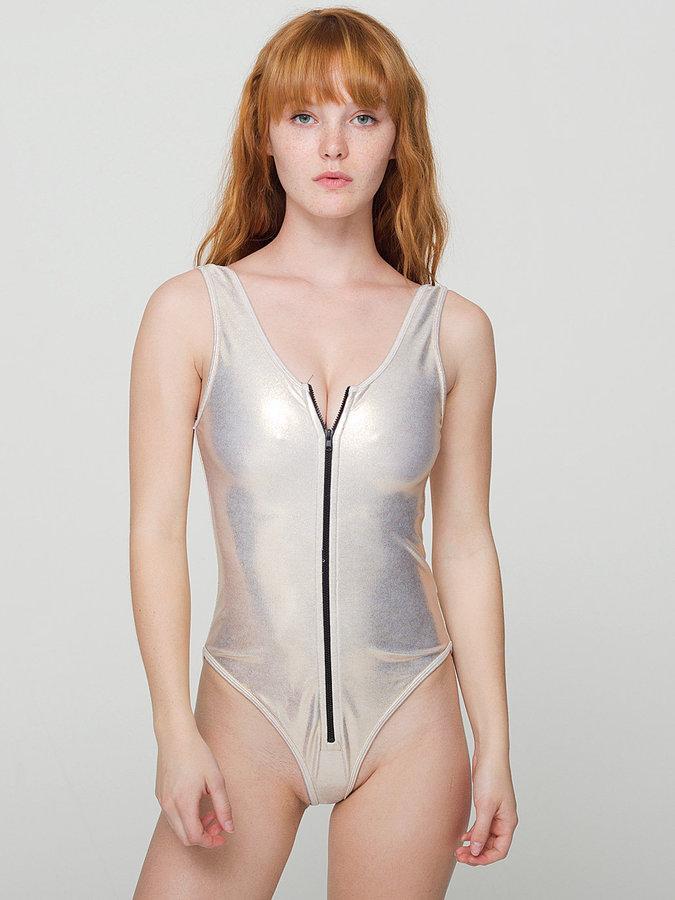 American Apparel Shiny Zipper-Front Bodysuit