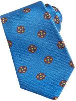 Kiton Flower-Medallion Pattern Tie, Light Blue