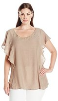 NY Collection Women's Plus Size Flutter Short Sleeve Blouse with Criss Cross Straps and Heat Seat