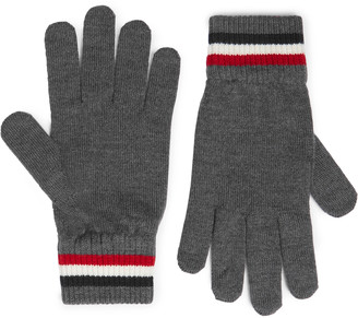Moncler Logo-Appliqued Virgin Wool Gloves - Men - Gray