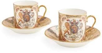 Harrods Chinoiserie 4-Piece Coffee Cup And Saucer Set