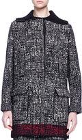 Lanvin Faux-Fur-Trimmed Contrast-Bordered Tweed Coat
