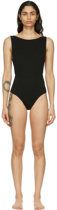 Haight Black Side Slit One-Piece Swimsuit