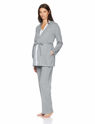 Motherhood Maternity Women's Maternity Satin Trim 3 Piece Pajama Set with Nursing Function