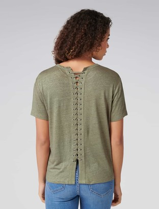 Forever New Alicia Eyelet Lace-Up Back Tee - Sweet Clover - m
