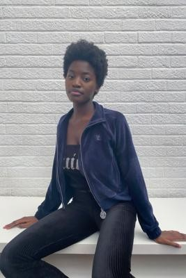 Juicy Couture Velour Navy Zip Track Top - Blue XS at Urban Outfitters