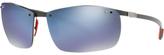 Ray-Ban RB8305M Polarised Scuderia Ferrari Collection Rectangular Sunglasses, Black/Mirror Blue