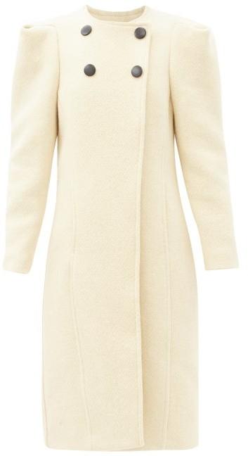 Isabel Marant Fezio Gathered-shoulder Wool-blend Coat - Ivory