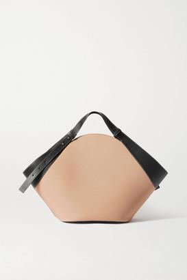 Yuzefi Basket Leather-trimmed Canvas Shoulder Bag - Beige