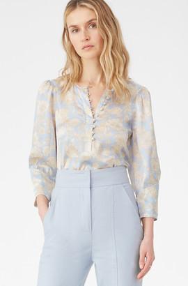 Rebecca Taylor Satin Leaf Fleur Silk Top